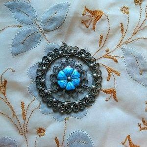 Unique vintage enamel flower filigree pendant